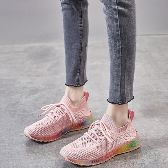 2020 Summer Platform Pink Beige Orange White Women Sneakers Mesh Sock Jelly Shoes Colorful Casual Tennis Trainers