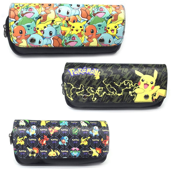 Novelty Cartoon Pokemon Pencil Cases Anime Pikachu Double Zipper Leather Pen Pencil Holder Bag Pouch Gift Kids Cosmetic Case