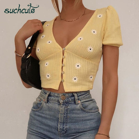 SUCHCUTE V-neck female T-shirt floral print tees puff sleeve tops summer 2020 vintage gothic button elegent ladies women clothes