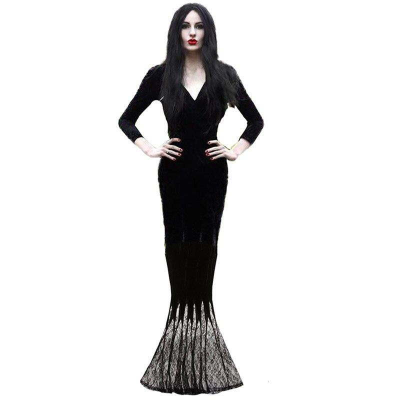 Adult Women Gothic Halloween Morticia Addams Ghost Witch Costume Horror Black Floor Lace Dress Gown Robe Clothes For Ladies