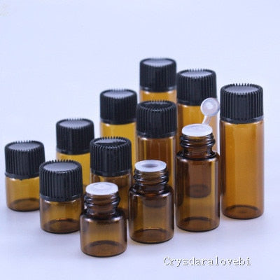 100pcs  Small Amber Essential Oil Bottle With Plastic Lid,Glass Bottle, Mini Brown Glass Vials,Mini Glass Container