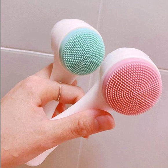 Double Side Silicone Facial Cleanser Wash Brush Soft Mild Fiber Face Cleaning Portable Size Face Massage Washing Skin Care Tool