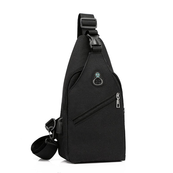 Multi-pocket Men Cross body Chest Bags Solid Color chest pack USB Charging Headphone Plug Single Shoulder Messenger Bag Totes