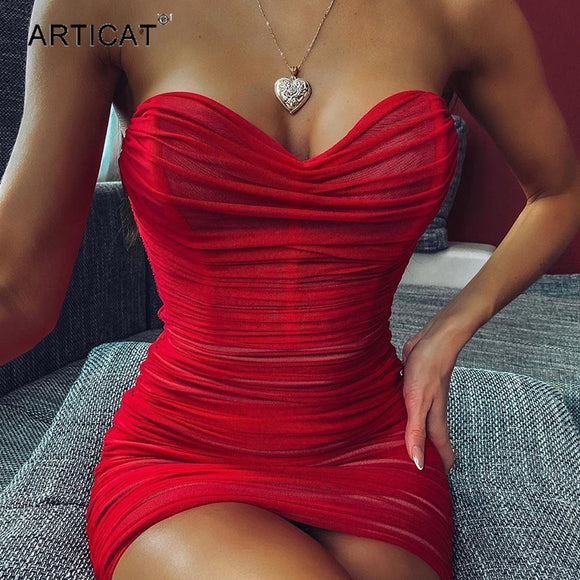 Articat Sexy Strapless Mesh Ruched Dress Women Sleeveless Red Bodycon Mini Summer 2020 Woman Dress Club Party Sheath Vestidos