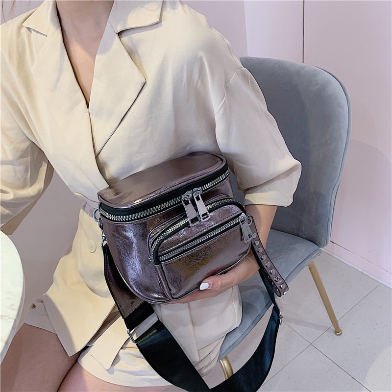 2019 Simple Fashion High Quality Saddle Bag Female Wide Shoulder Strap Messenger Bag Crossbody Bags for Women Small Square Bag
