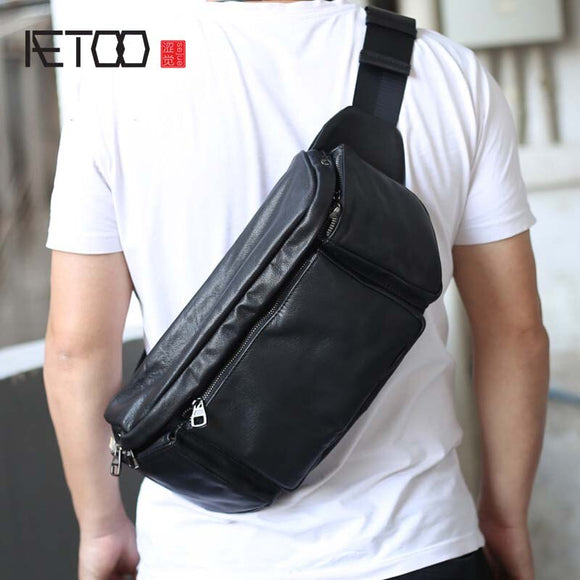AETOO Original leather waist bag male retro crazy horse leather multifunctional chest bag sports casual men's bag leather diagon