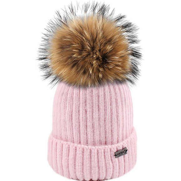 FURTALK Kids Winter Hat Baby Winter Pompom Beanie Hat Girls Boys Angora Rabbit Fur Cap Knitted Child 4-8 Years Old Cap