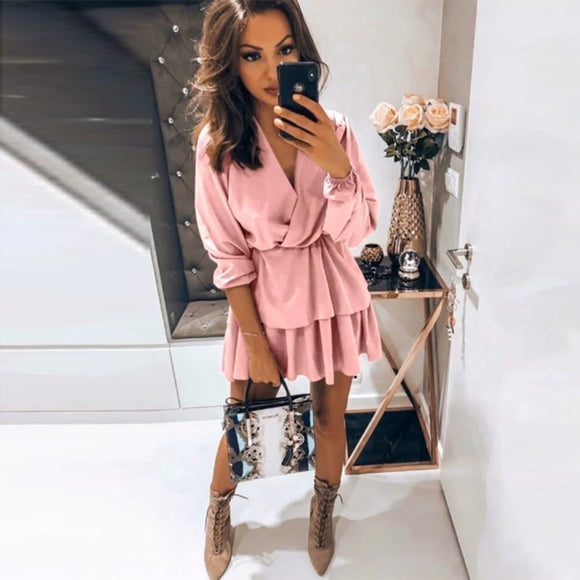 MOARCHO Casual Sashes Solid Sexy Mini Dress Woman V-neck Lantern Sleeve Fashion Ruffles Hem Dresses Vestidos Autumn 2020 New