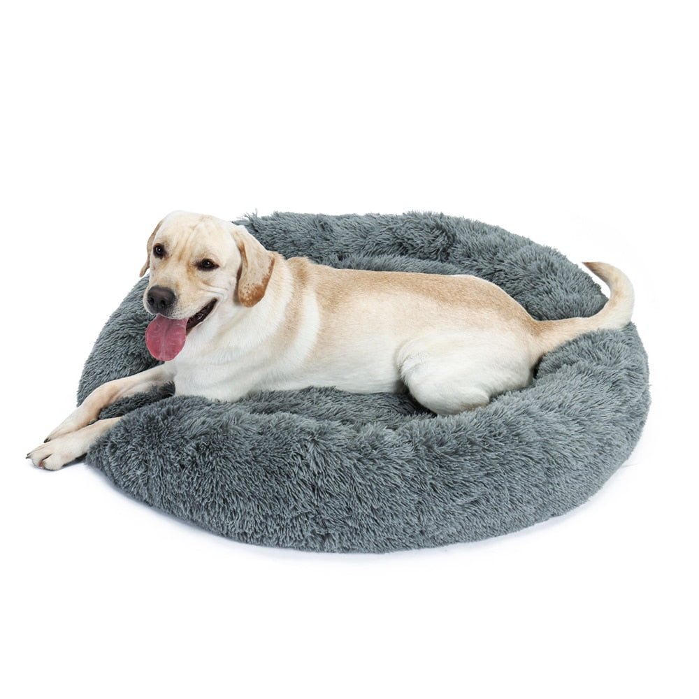 Luxury Pet Dog Bed for Large Dog Nest Cute Round House Donut Shape Puppy Winter Warm Soft Cozy Cat Bed Dog Kennel Cushion 2 Size