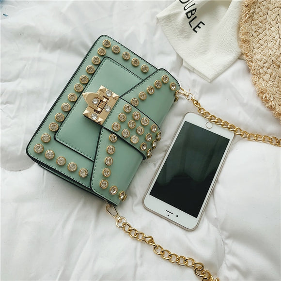 Leather Shoulder Bag Female Diamond Small Square Bag Fashion Flap Chain Crossbody Bags for Women 2019 High Quality Messenger Bag
