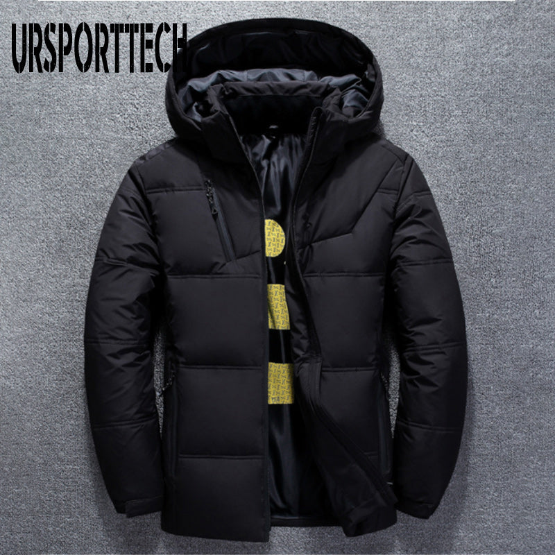 KaWaYi Mens Pocket Oversized Solid Zipper Stand Collar Thick Down Jacket