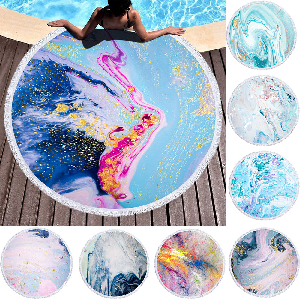 3D Marble Gilt Series Printed Round Beach Towel Absorbent Microfiber Towels For Kids Adults Gilt Tassel Beach Carpet Blanket