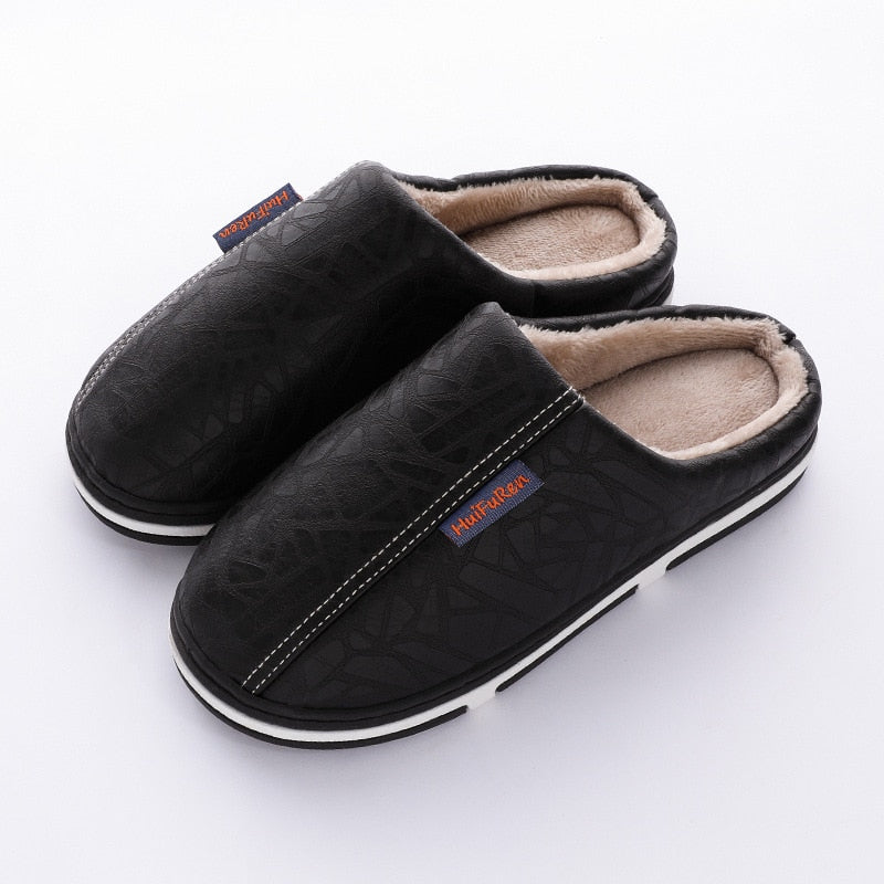 Women fur Slippers Large Size Waterproof Short Plush Leather slippers Warm Couple Indoor Shoes for Men bedroom Home Slippers
