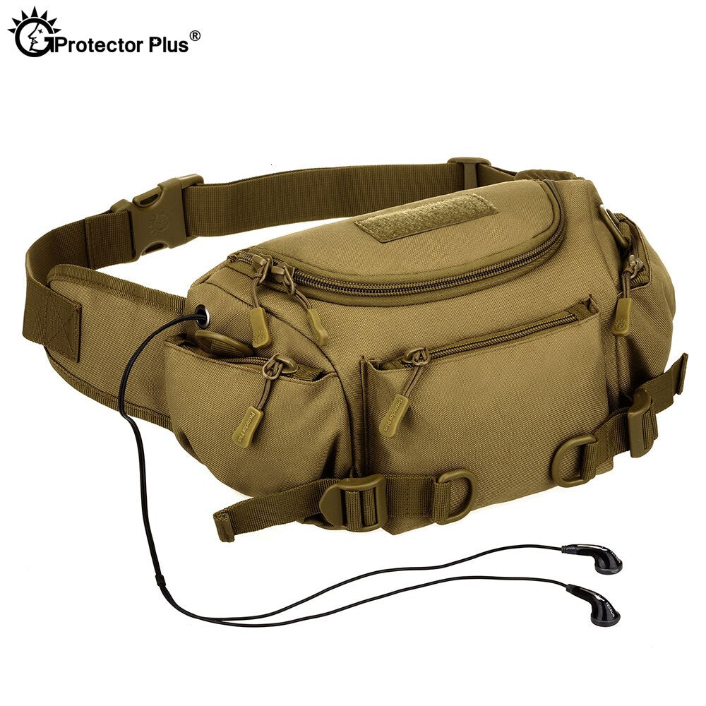 Multifunction Tactical Military Camouflage Waist Bag  Outdoor Riding Sports Hiking Climbing Messenger Dual-use Bag Waterproof