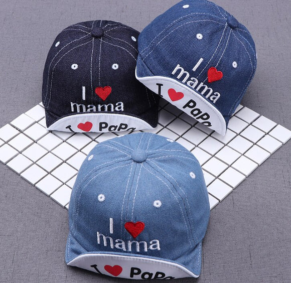 i lOVE mama Cute Baby Boy Cap Embroidery Number Baby Baseball Cap Summer Autumn Children Cotton Sun Hat
