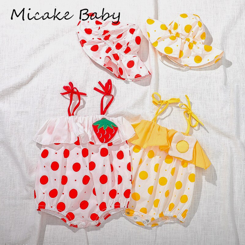 Summer Sling Newborn Baby Jumpsuit Clothes Cute Strawberry Poached Egg Dot Bow Girl Romper Sleeveless Tube Top Bodysuit Hat Set