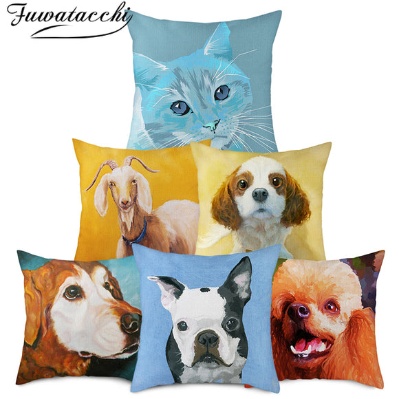 Fuwatacchi Cat Linen Printed Cushion Cover Pet Dog Photo Pillow Cover for Home Chair Sofa and Car Decorative Pillowcase 45x45cm