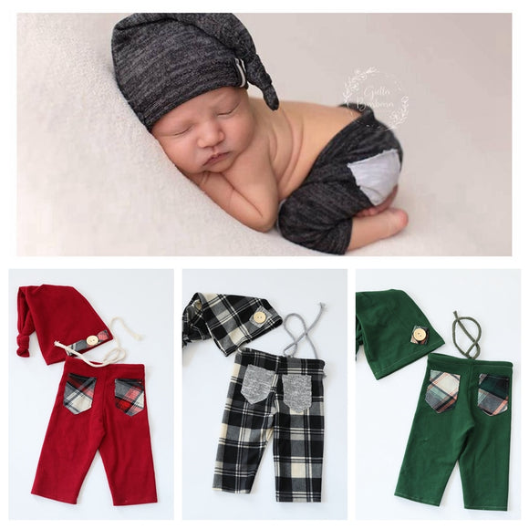 2019 Handmake Newborn Photography Props Romper Flokati Accessories Baby Boy Photo Shoot Lattice Clothes For Studio Pants Hat Set
