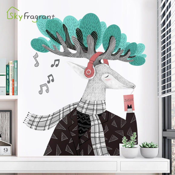 Nordic elk wall stickers creative living room dining room entrance decoration bedroom decor stickers self-adhesive home decor