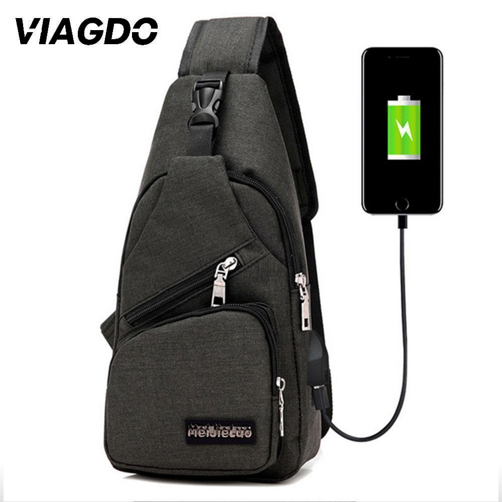 Male Shoulder Bags USB Charging Crossbody Bag Anti Theft Chest Bag School Summer Short Trip Messengers Bag Travel Fashion 2020