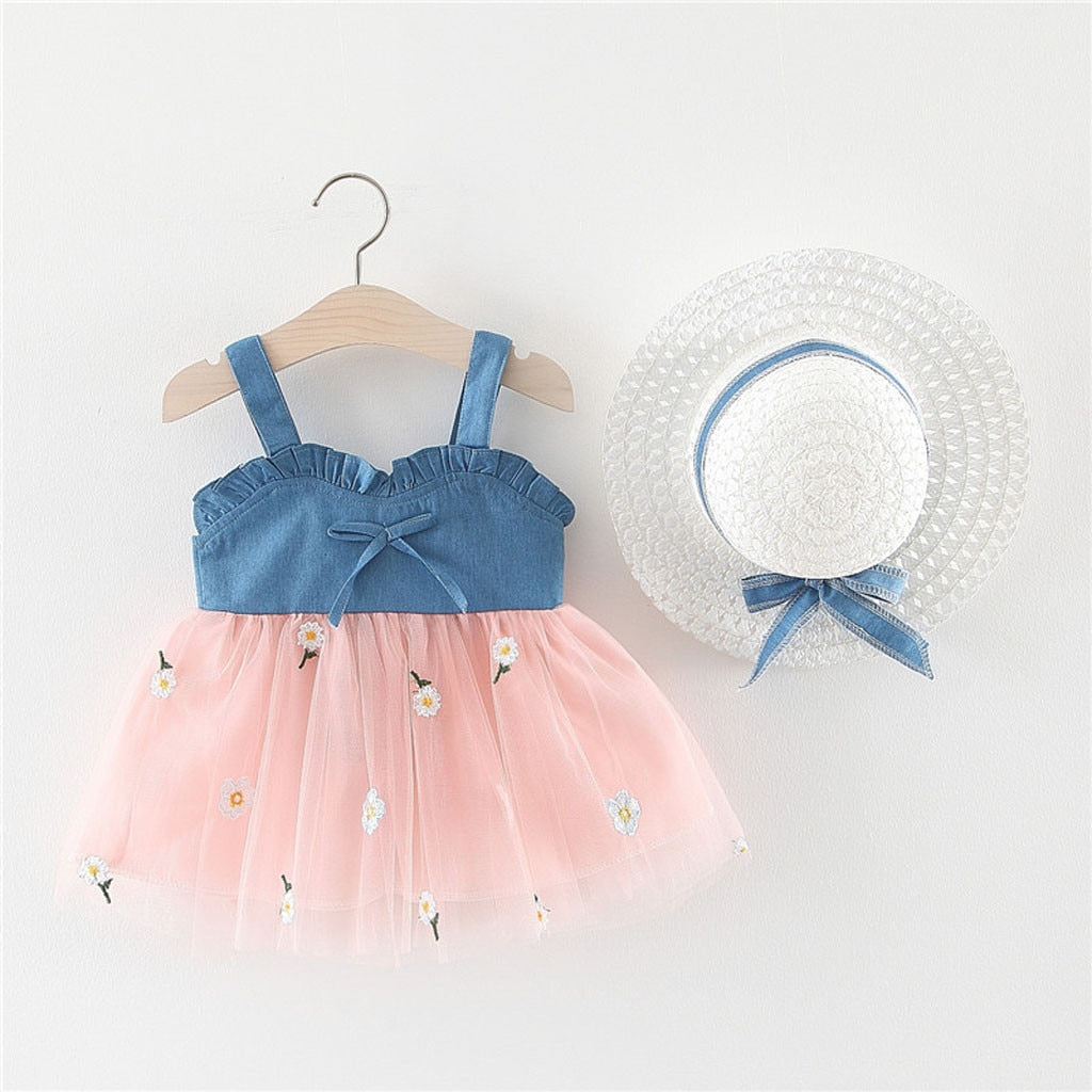 Toddler Baby Kids Girl Sleeveless Strap Bow Flowers Tulle Princess Dresses  Baby Hat Girls Dress Birthday Dress HOOLER