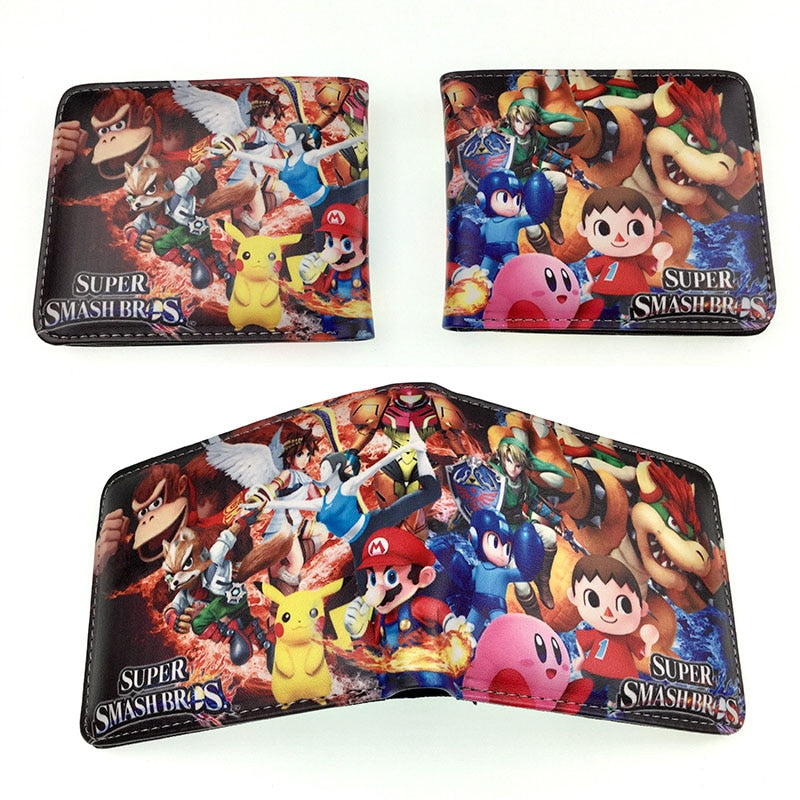 Kawaii Cartoon Mario Wallets Men's Leather Purse Dollar Price Card Holder Bag Gifts Young Teenager Students Folded Short Wallet