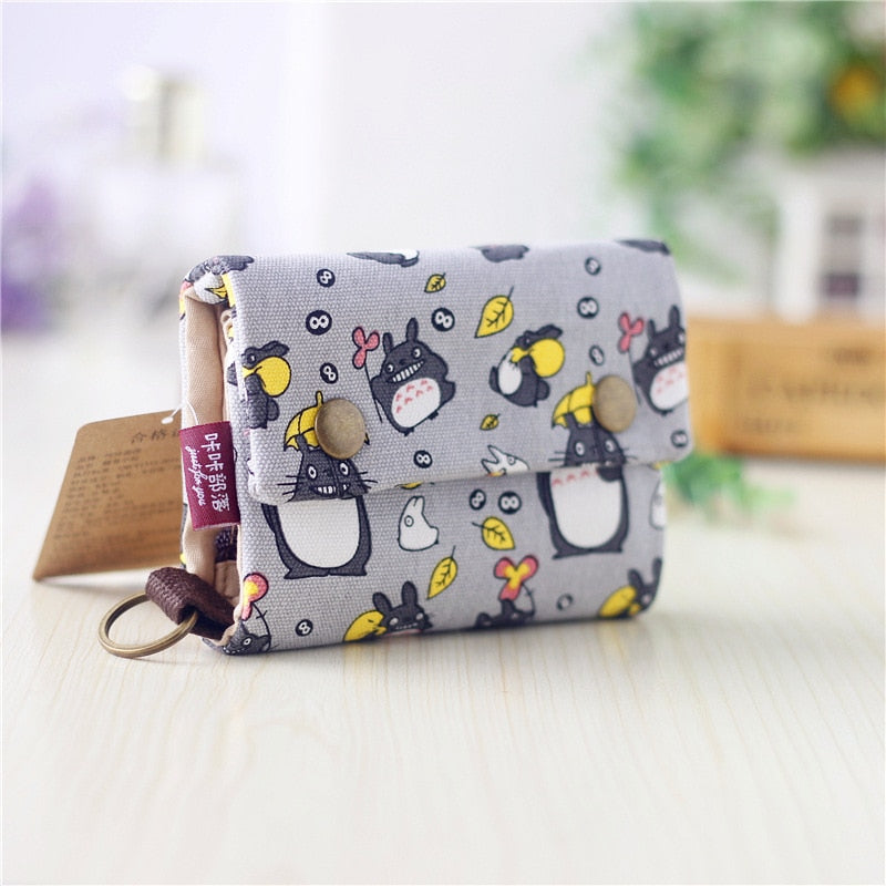 Canvas Cash Coin Purse,Unicorn And Flowers Print Make Up Bag Zipper Small Purse Wallets