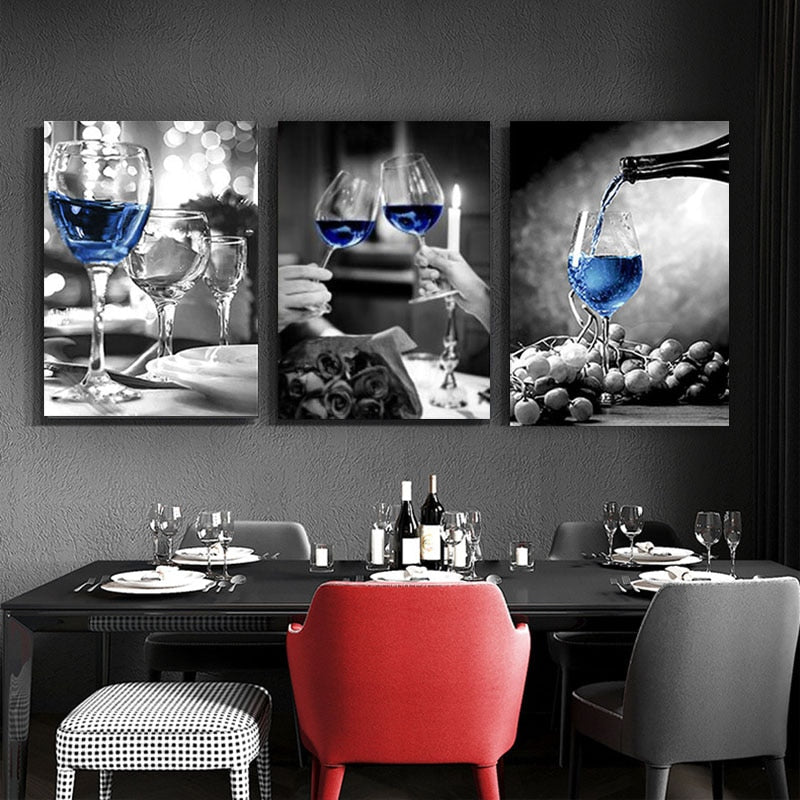SELFLESS ART Romantic Black White Wine Glasses Modern Canvas Art Wall Pictures Gallery Dining Room Bar Home Decoration Poster