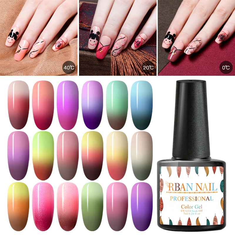 RBAN NAIL Temperature Change UV Gel Varnish Gradient Colorful Lacquer Enamel Chameleon Thermal  Gel Nail Polish Manicure Tools