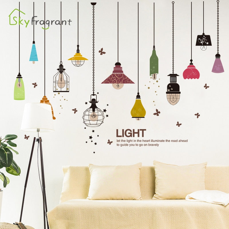 Creative chandelier wall sticker dining room wall decor bedroom decoration self-adhesive stickers home decor room decoration