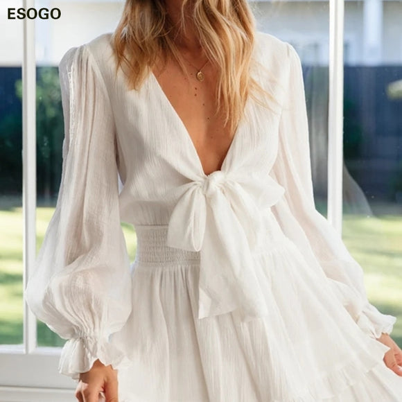 Elegant White Deep V Neck Dress Lace up Lantern Sleeve Elastic Party Woman Dress High Waist Bow Layer Ruffle Summer Dresses
