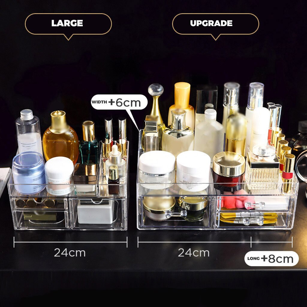 Makeup Organizer 3 Layers Cosmetics Essential Oil Bottle Stand Holder Clear Acrylic Makeup Box Assemble Jewelry Display Box d#