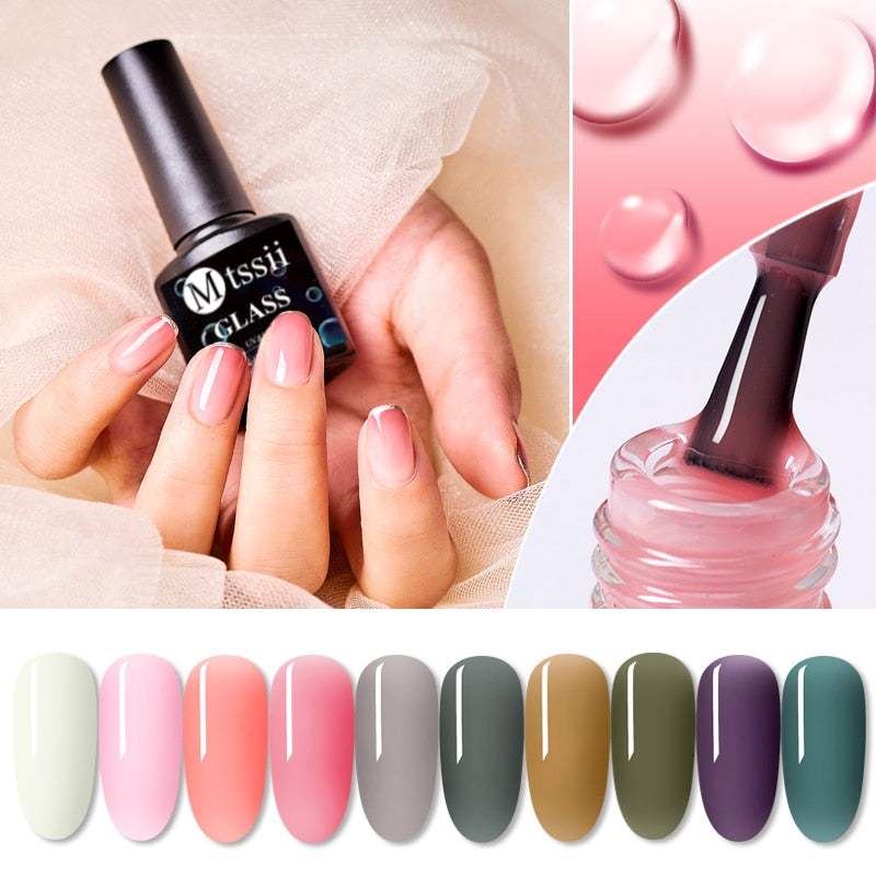 Mtssii 8ML Jelly Gel Nail Polish Translucent Pink Nude Color Gel Semi Permanent Soak Off UV Gel Polish Nail Art Lacquer Varnish