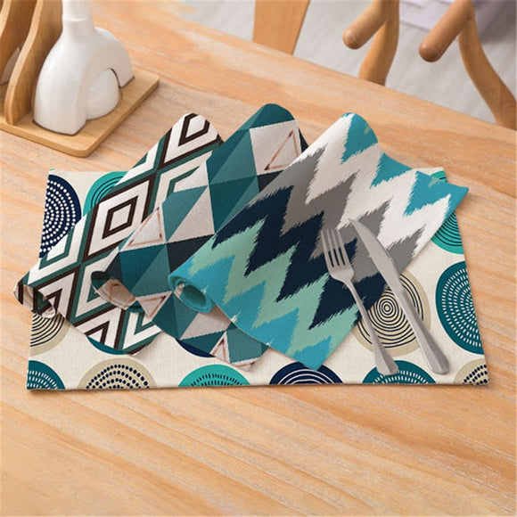 Geometric Patterns Simple Style Distinctive Placemat Table Napkin Dining Table Mat Bowls Drink Coasters Kitchen Accessories
