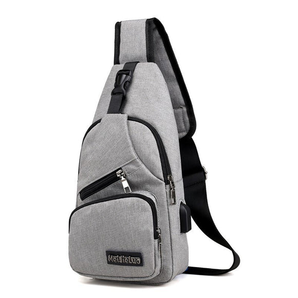Oxford cloth Crossbody Bag Men's Sling Bag Water Resistant Chest Sling Backpack with USB Charging Port 2020 Travel Shoulder Bags