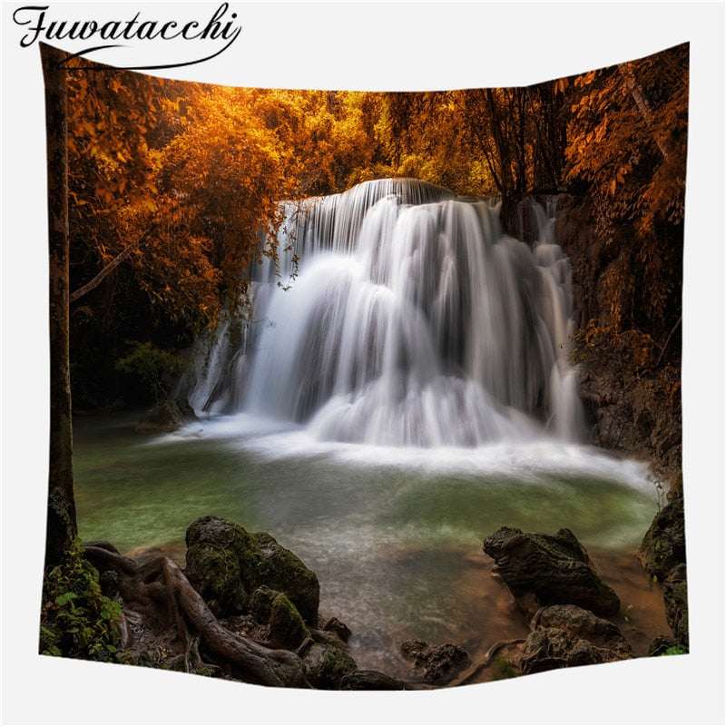 Fuwatacchi Scenery Photo Wall Hanging Tapestry Nature Forest Waterfall Printed Travel Beach Towel Blanket For Home Decorations