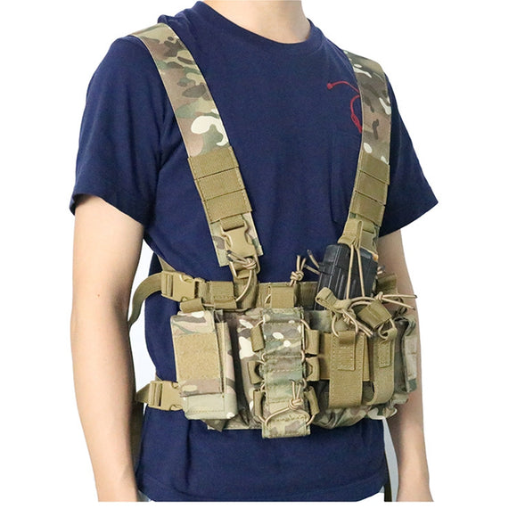 Adjustable Tactical Chest Rig Bag Radio Harness Chest Front Pack Pouch Holster Military Vest Chest Waist Two Way Radio Pocket