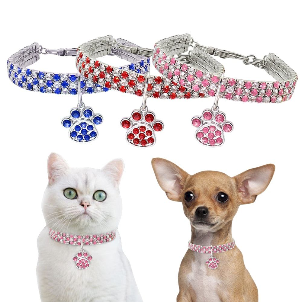 Rhinestone Cat Dog Collar Bling Diamond Dog Collars For Small Dogs Cats Jeweled Puppy Kitten Necklace Pet Accessories