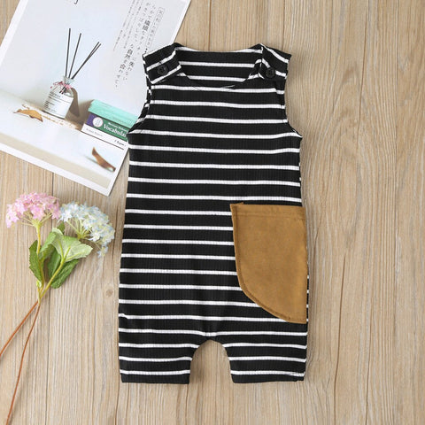 Camping Hair Dont Care Infant Baby Boys Girls Crawling Suit Sleeveless Onesie Romper Jumpsuit Black