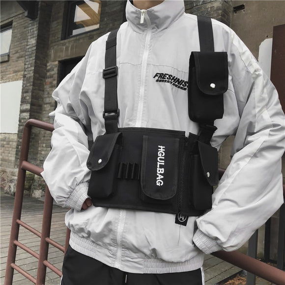 Canvas Tactical Chest Rigfor Men Ins Streetwear Functional Hip Hop Waist Bag shoulder Bag Climbing Hunting Vest Bags 4Colors