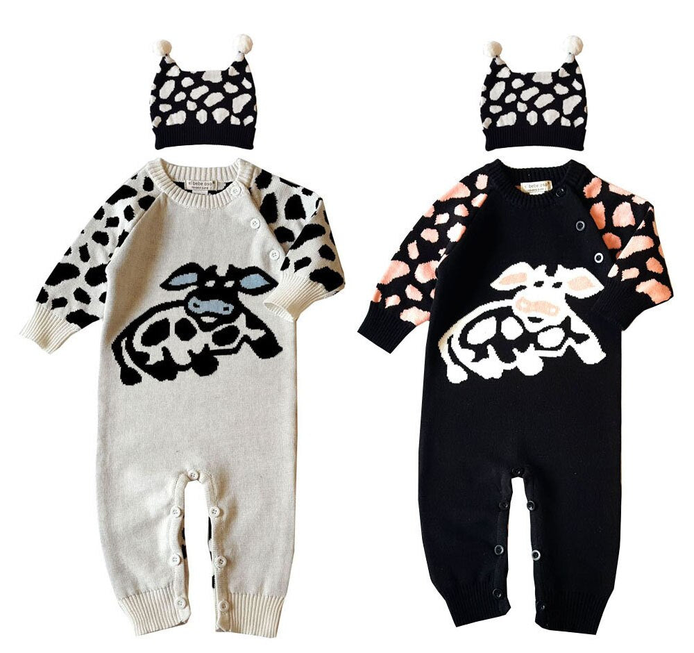 Children sweater wholesale cow baby cotton  jumpsuit with hat set newborn boy girl toddler onesie autumn clothes