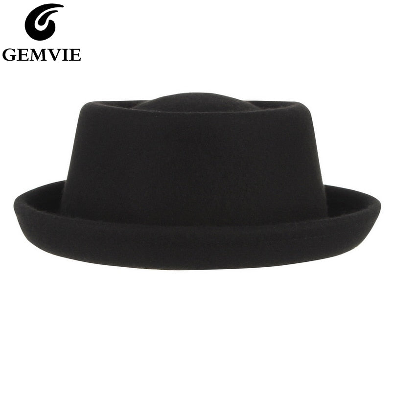 Womens Spring Autumn Winter Black Bow Pure Wool Fedoras Bucket Bowler Hats Crimping Beret Cap