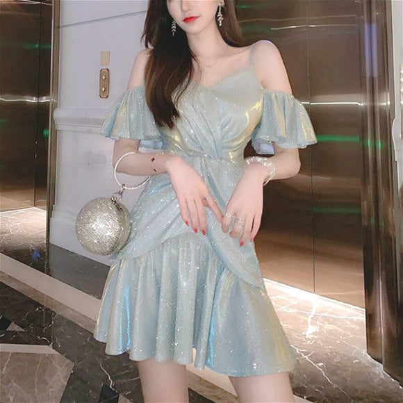 Sequin Dress Women Sexy Off The Shoulder Dresses Elegant French Style Vintage Retro Summer Woman Party Night Mini Dress 2020