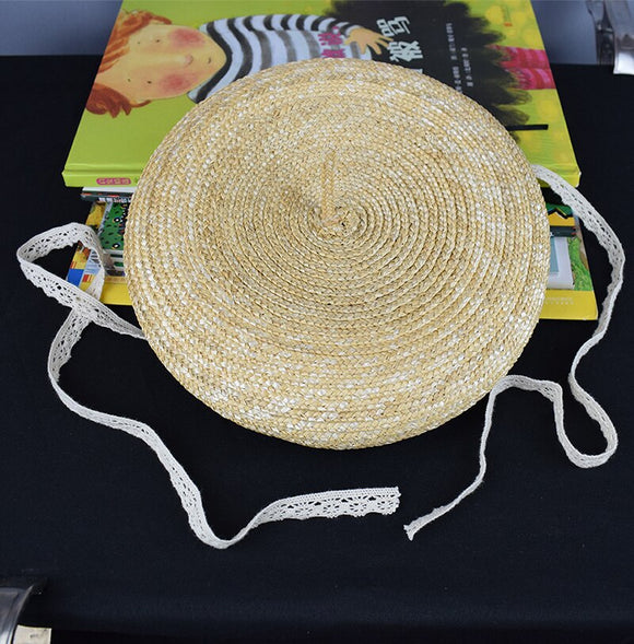 Girls Summer andmade Weave Lace Tie  Straw Hat For Girls Children beretHat Kids Sun Cap Baby Beach Hats Chic Accessory