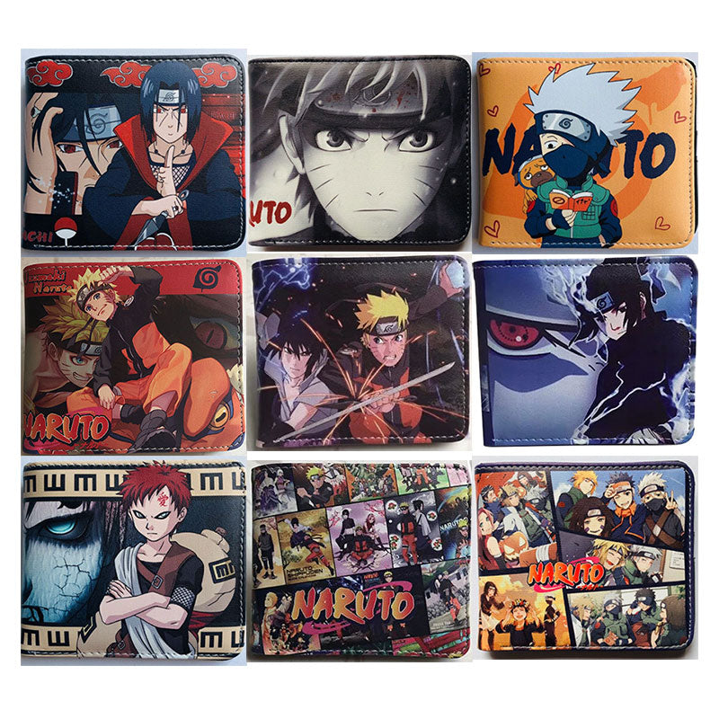Peripheral Anime Naruto Short Wallet PU Leather Student Wallets for Men Japanese Animation Card Holder Purse with Zipper Bag