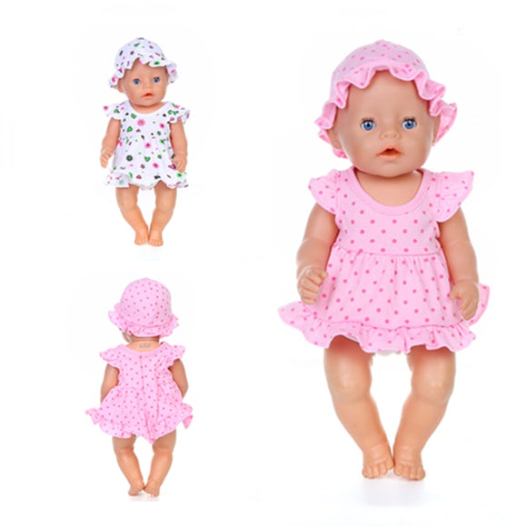 Doll Clothes Born New Baby Fit 18 inch 40-43cm Skirt hat two piece Pajama Suit Doll Accessories For Baby Birthday Gift