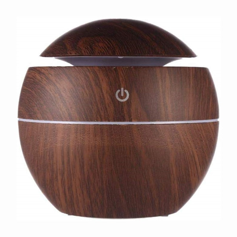 Ultrasonic Air Humidifier Wood Essential Aroma Oil Diffuser With LED Light Electric Aromatherapy Mist Maker