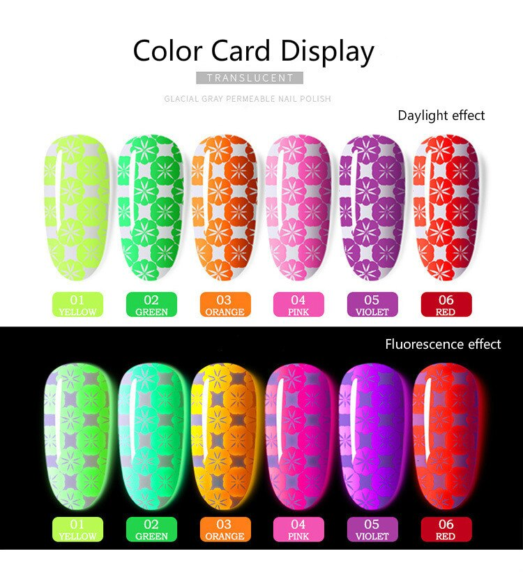 CHUNSHU 8ML Fluorescence Printing Varnish UV Gel Nail Polish Painting Gelpolish Fingernail Printing Paste Nails Art Manicure DIY