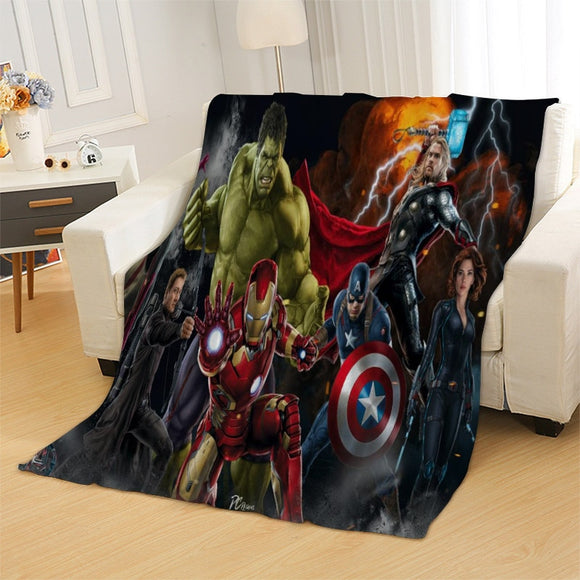 Marvel Avenger Hero Blanket Mat Fairy Tail Bizarre Adventure Tapestry Soft Bedspread Beach Towel Warm Travel Towel