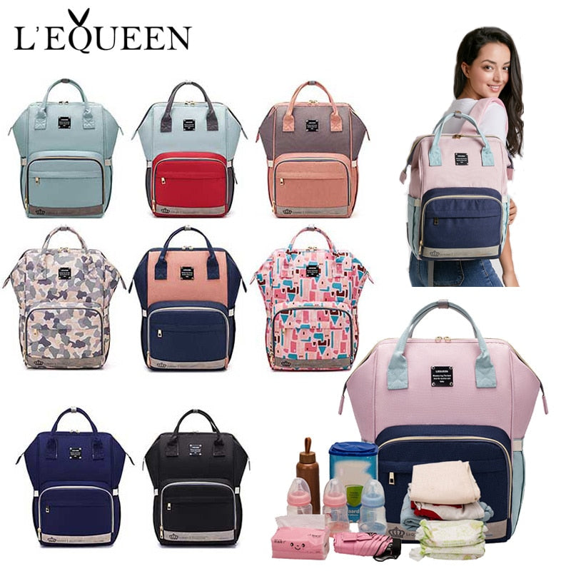 LEQUEEN Diaper Baby Bag Mummy Maternity Nappy Bag Large Capacity Baby Bag Travel Backpack Designer Nursing Bag for Baby Care